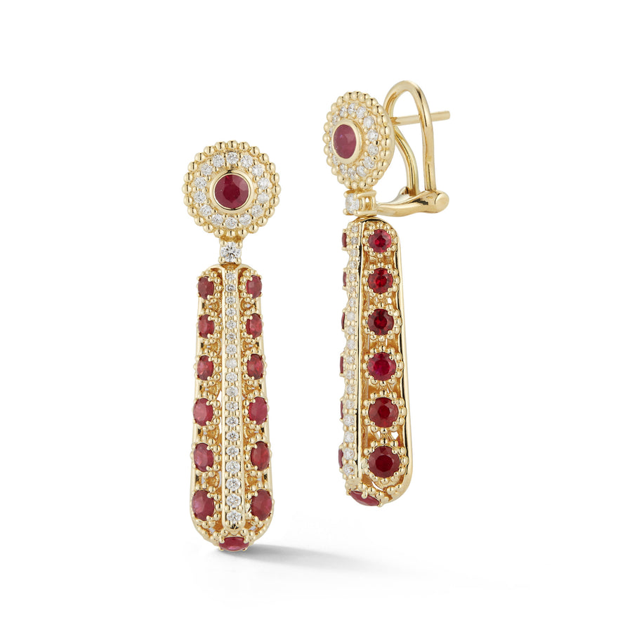 Marea long dangle earrings in 18K yellow gold with rubies and white diamonds
