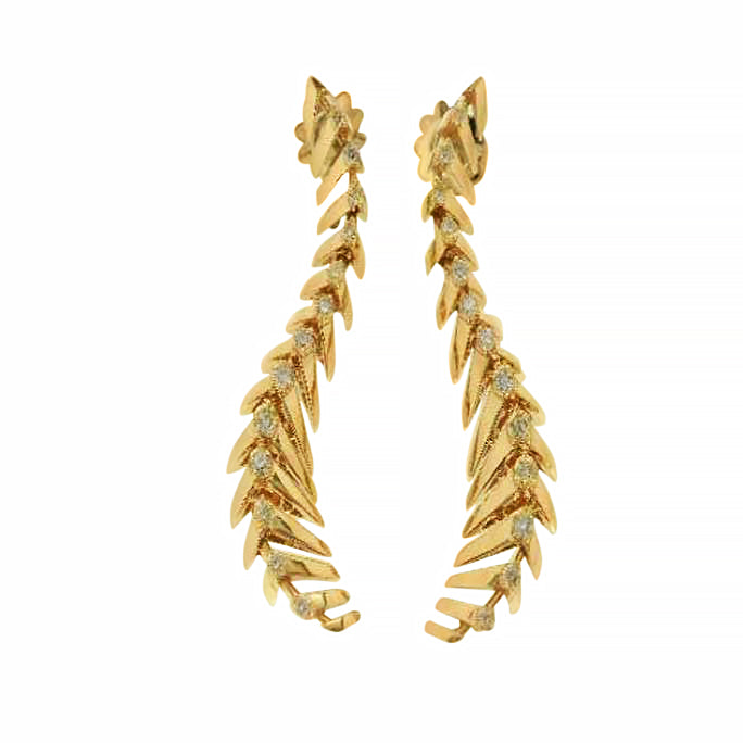 Ventaglio earrings in 18K yellow gold and diamonds.