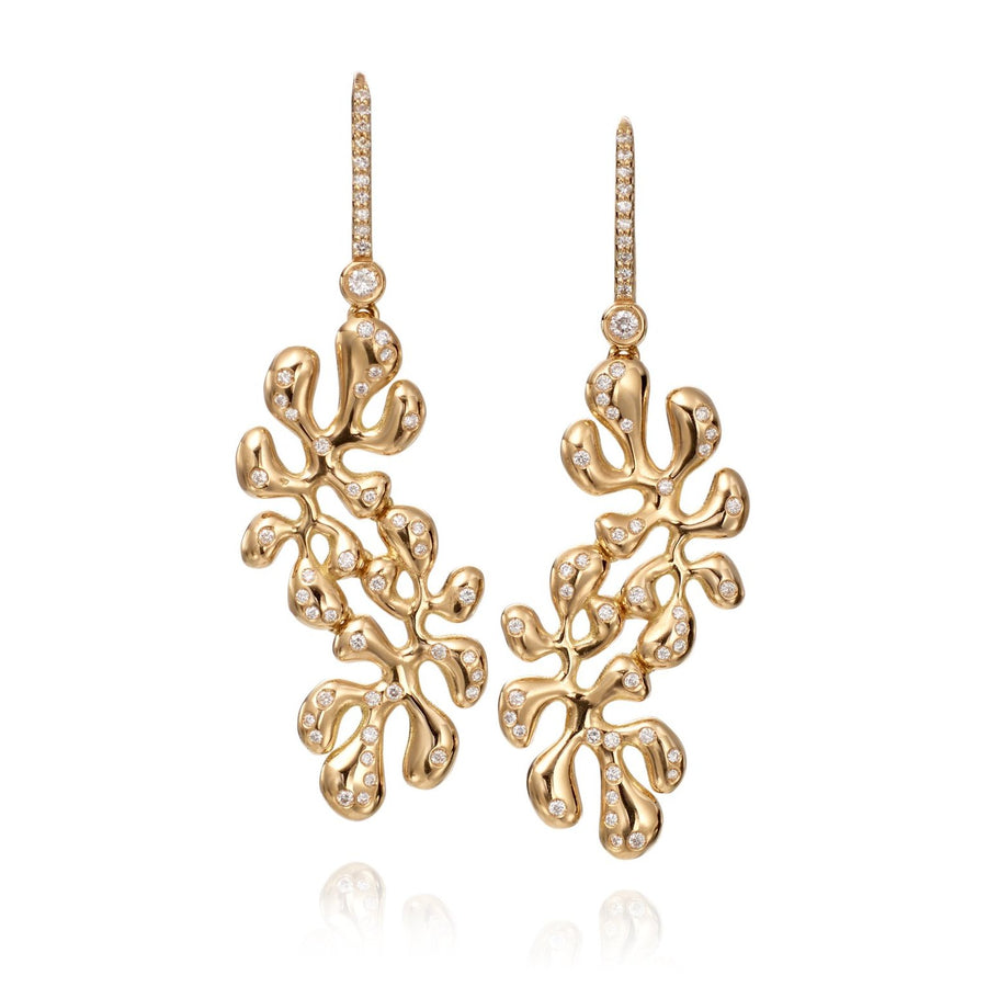 Sea Leaf earrings feature 18K yellow gold and diamonds