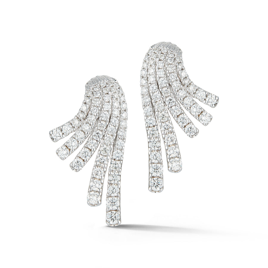Ventaglio earrings in 18K white gold with white diamonds