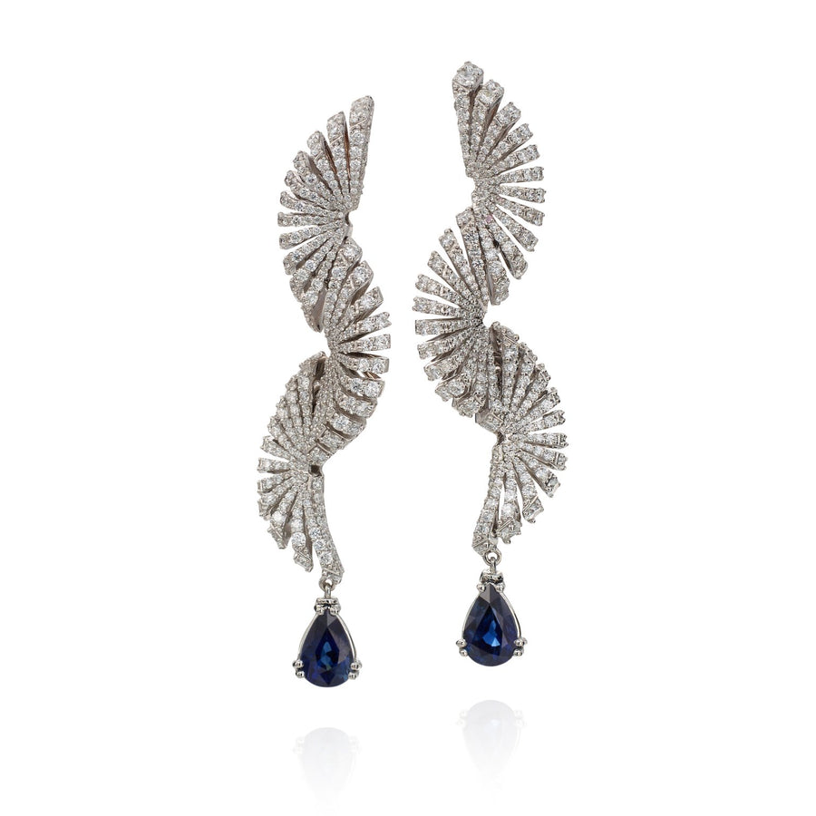 Ventaglio earrings feature 18K white gold,diamonds and blue sapphires