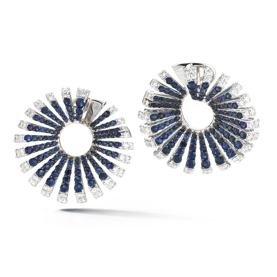 Ventaglio earrings 18K white gold, white diamonds and sapphires