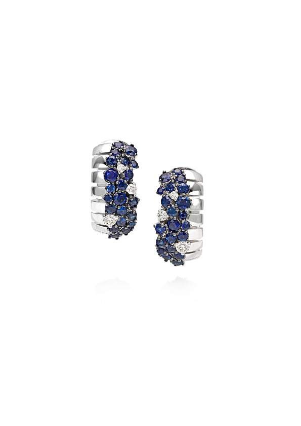 Small clip earring 18K white gold fvs1 diamond & blue sapphire cluster