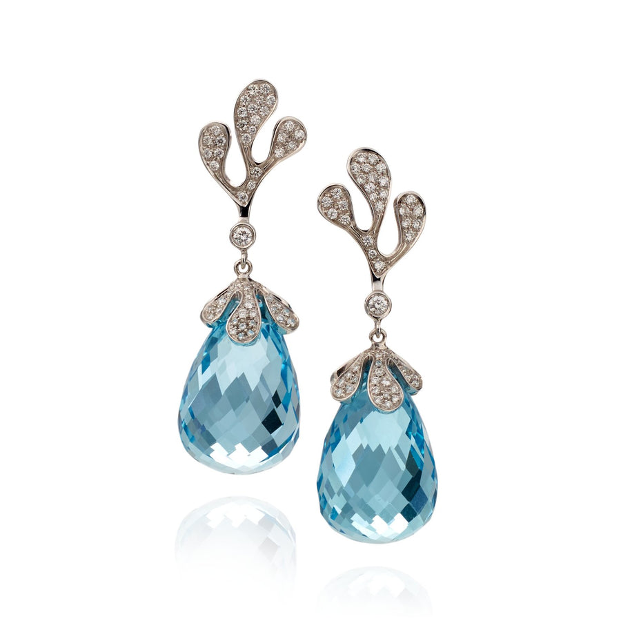 Sea Leaf earrings in 18K white gold with white diamonds and blue topaz