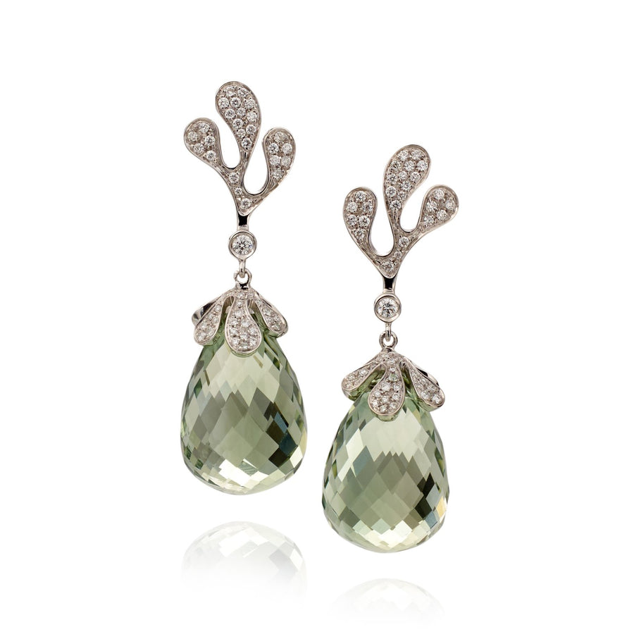Sea Leaf earrings in 18K white gold with white diamonds and green amethyst