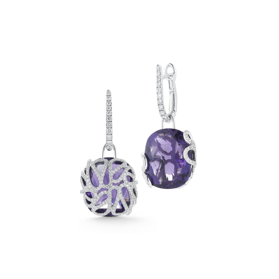Sea Leaf earring leaf mtoif back, with amethyst and diamonds