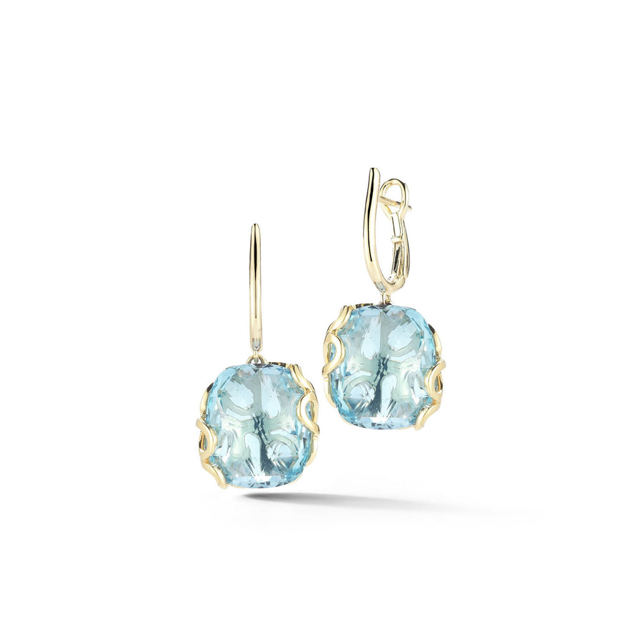 Sea Leaf earrings in 18K yellow gold with leaf motif back and blue topaz