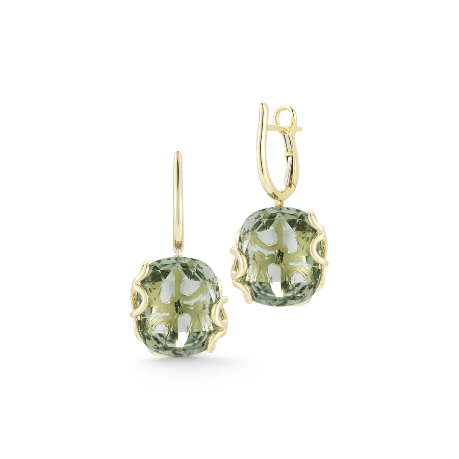 Sea Leaf earring leaf motif back set with green amethyst