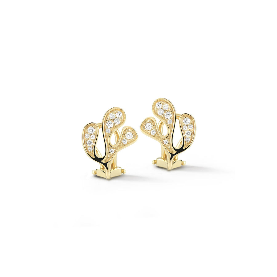Sea Leaf small motif stud earrings in 18K yellow gold with white diamonds