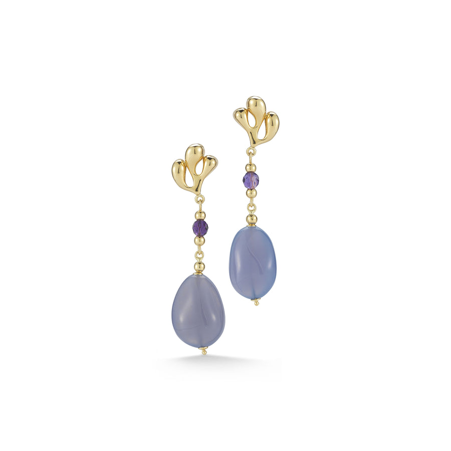 Sea Leaf clasp earrings set with amethyst