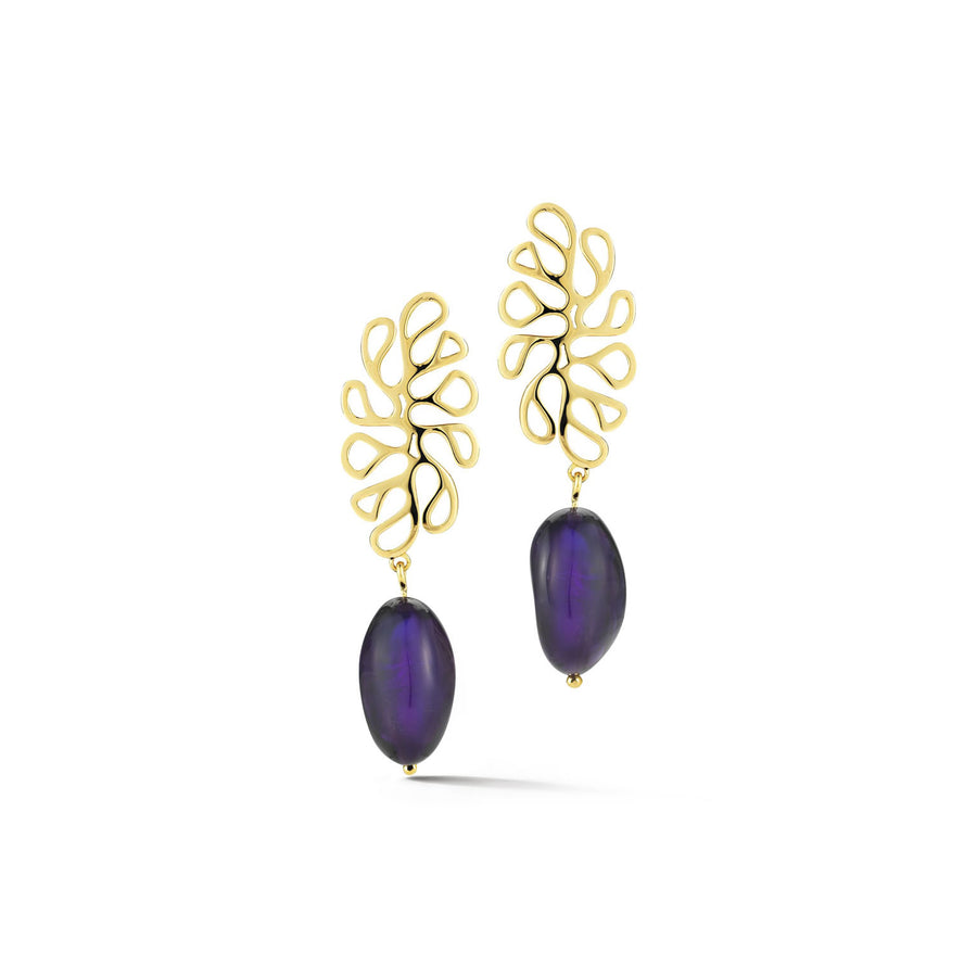 Sea Leaf open motif top earrings set with amethyst