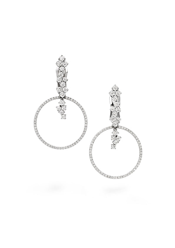 Small circle hoop shaped earring 18K white gold with fvs1 diamonds