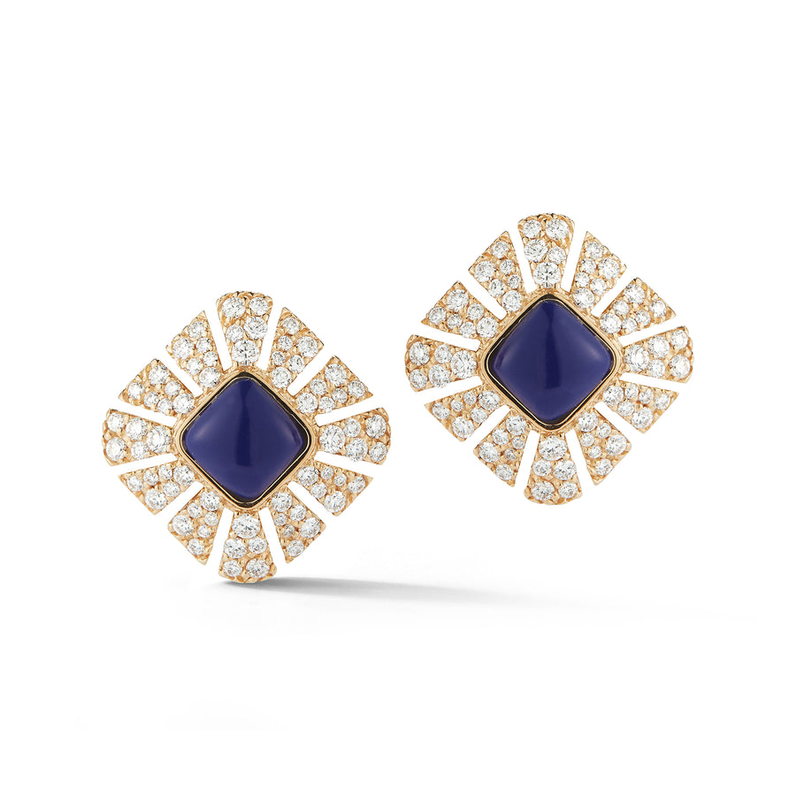 Ventaglio stud earrings in 18K yellow gold with white pave diamonds and lapis