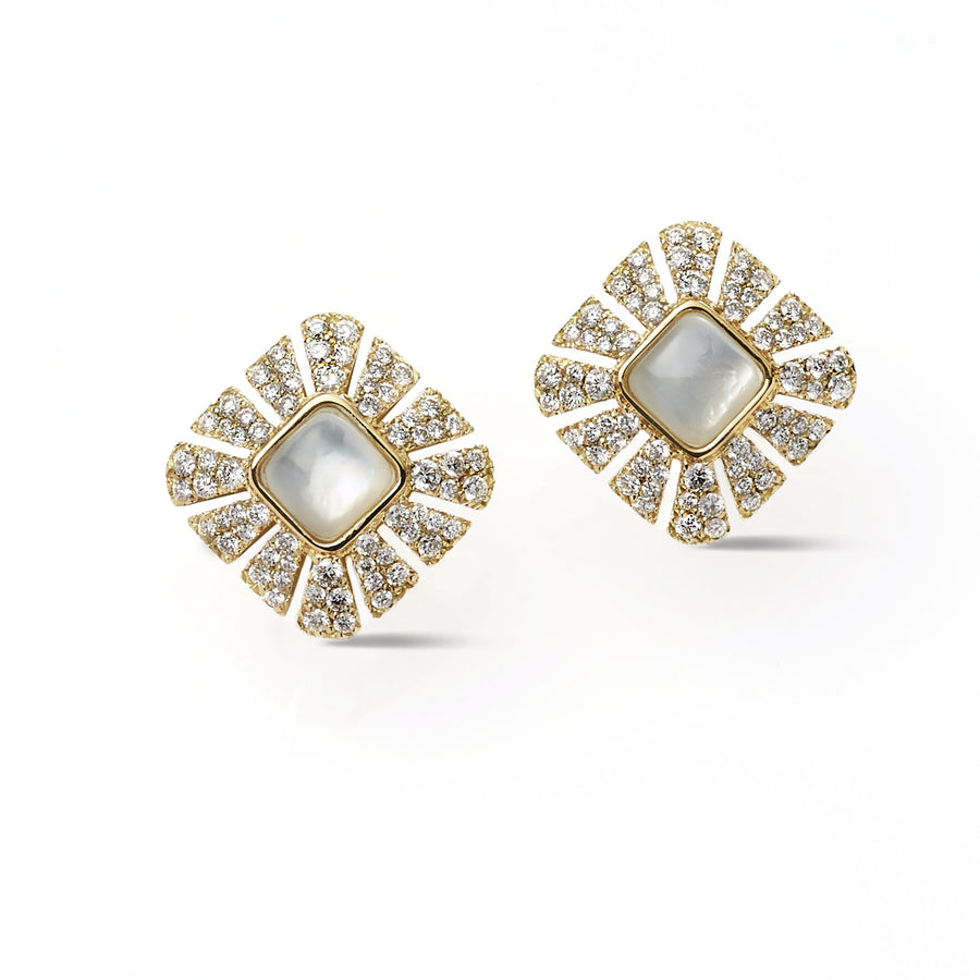 Stud earrings 18K yg with pave diamonds and mother of pearl