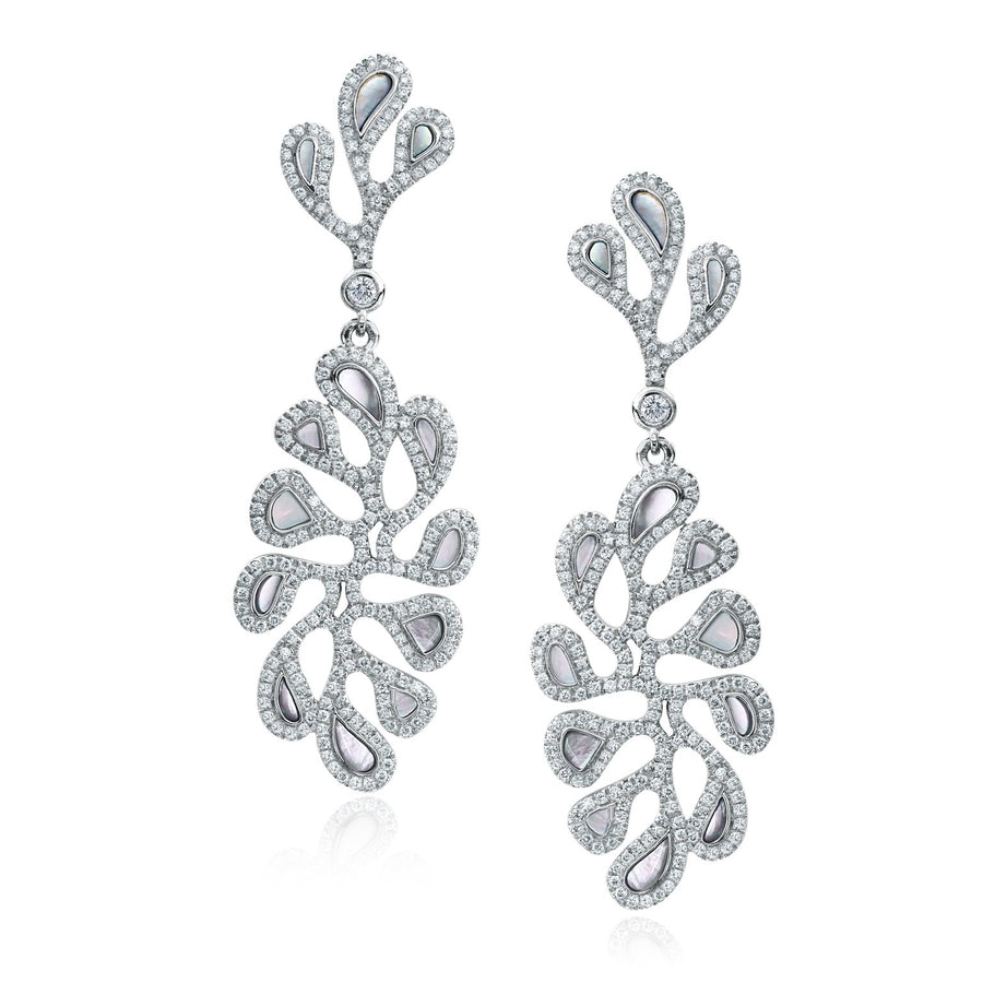 Sea Leaf open motif earrings with diamond and mother of pearl