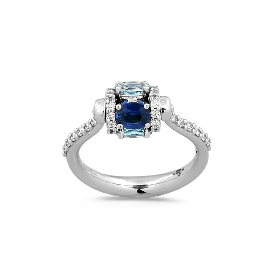Faro ring with spinning element in 18K white gold set with aquamarine, blue sapphire, and white diamonds