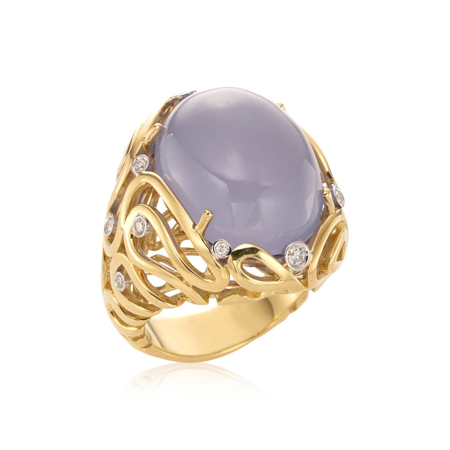 Sea Leaf ring in 18K yellow gold with white diamonds and chalcedony