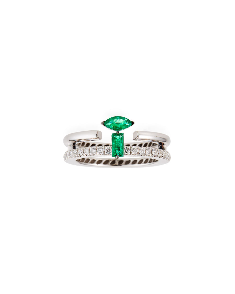 Procida ring, double row in 18K white gold, pave diamonds, marquise cut diamond, emerald cut diamond