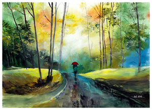 A Walk In The Rain - Best Painting for sale online -NeneArts