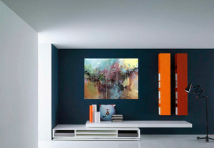Abstract Reality Watercolor Painting For Sale Shown In Living Room-NeneArts.jpg