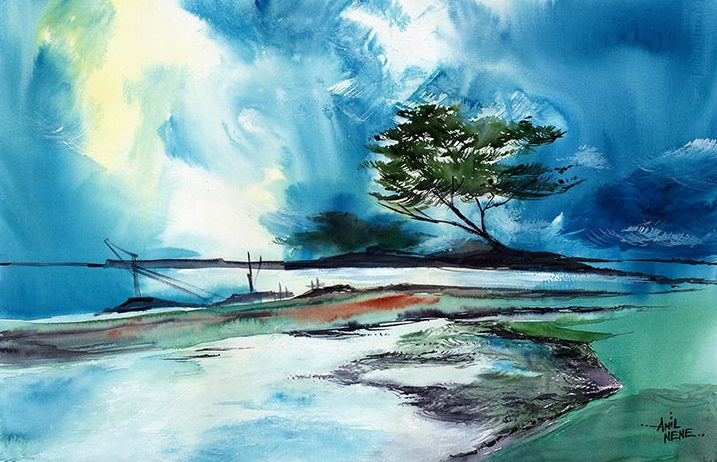 Blue Sky Watercolor Painting-NeneArts