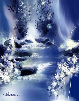 Blue Stream Digital Painting For Sale-NeneArts