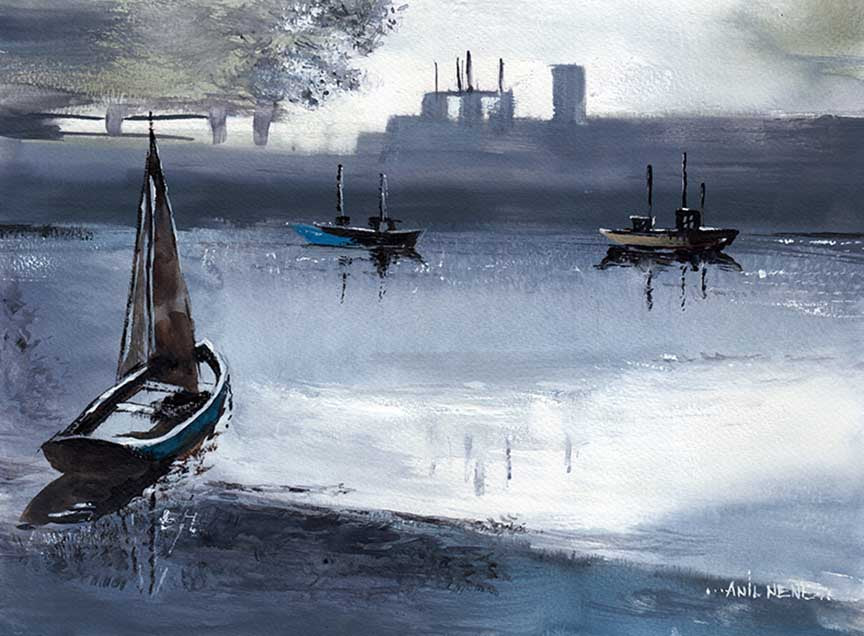 Boats In Twilight Art Print For Sale-NeneArts.jpg