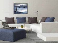 Load image into Gallery viewer, Boats In Twilight Art Print For Sale Shown With Furniture-NeneArts.jpg