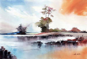 By The Lake Original Watercolor Painting For Sale - NeneArts.jpg