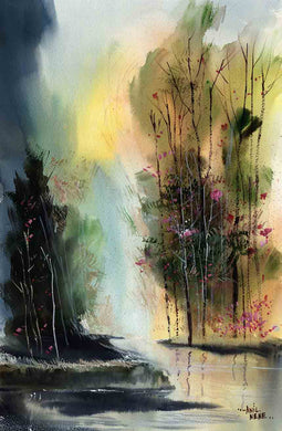 Daybreak watercolor painting for sale online - NeneArts