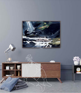 Mountain Stream Original Painting For Sale With Interior -NeneArts.jpg