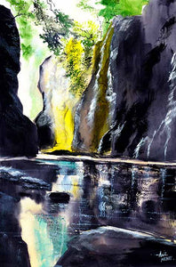 On The Rocks Original Watercolor Painting For Sale - NeneArts