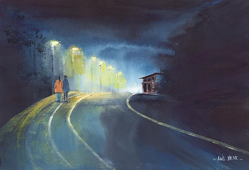 One fine rainy evening original painting for sale-NeneArts.