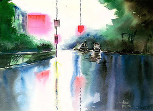 Rainy Day Original Watercolor Painting For Sale-NeneArts