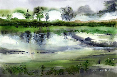 Rainy Farmland Original Painting For Sale-NeneArts