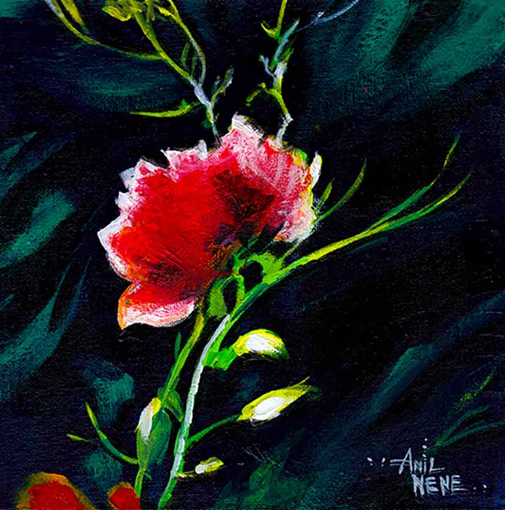 Red Flower Acrylic Painting For Sale-NeneArts