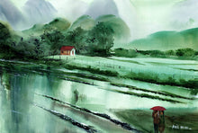 Load image into Gallery viewer, Romantic Rains Original Watercolor Painting For Sale-NeneArts
