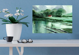 Romantic Rains Watercolor Original Painting For Sale With Interior - NeneArts.jpg