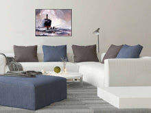 Load image into Gallery viewer, The Boat Original Watercolor Painting For Sale Online Shown With Furniture-NeneArts.jpg