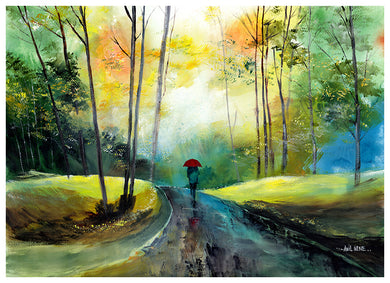 Art Print of A Walk In The Rain painting - NeneArts