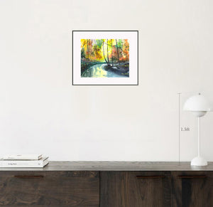 Welcome Spring Stunning Original Watercolor Painting Shown With Furniture NeneArts.jpg
