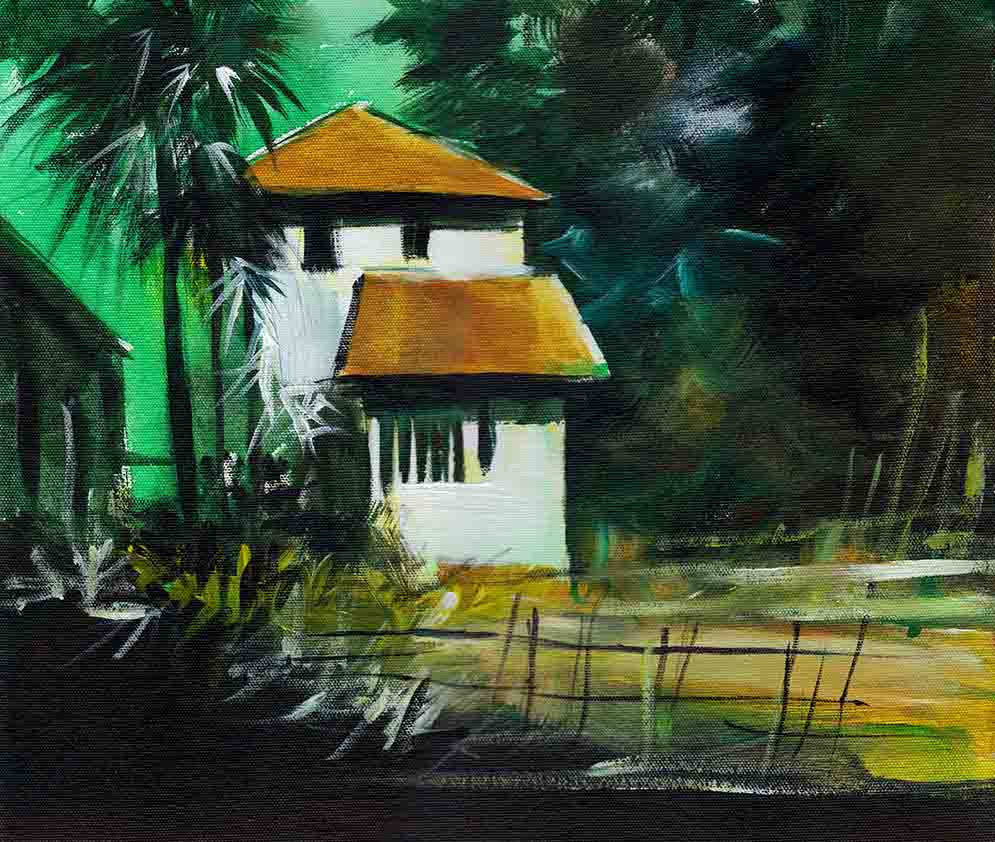 White House Acrylic Painting On Canvas Board-NeneArts.jpg