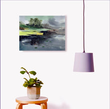 Load image into Gallery viewer, Yellow Boat Original Watercolor Painting For Sale Online Shown With Furniture-NeneArta.jpg
