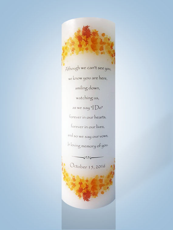 personalized fall leaves wedding memorial candle personalized