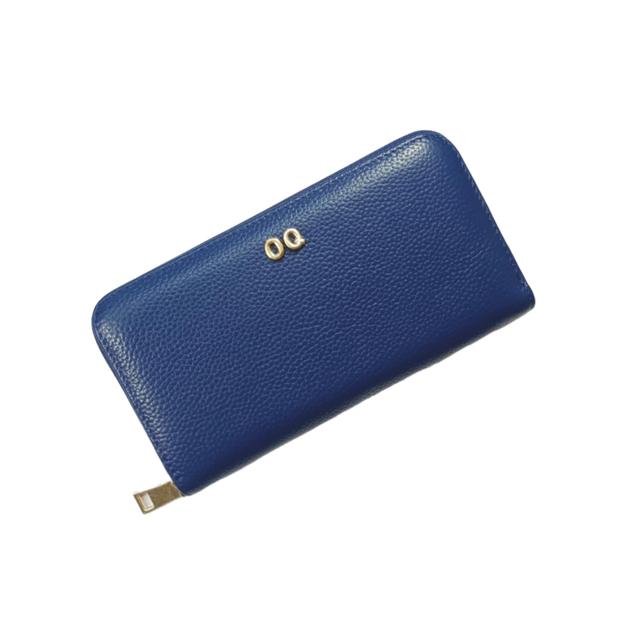 Leather Long Zip Wallet | Navy
