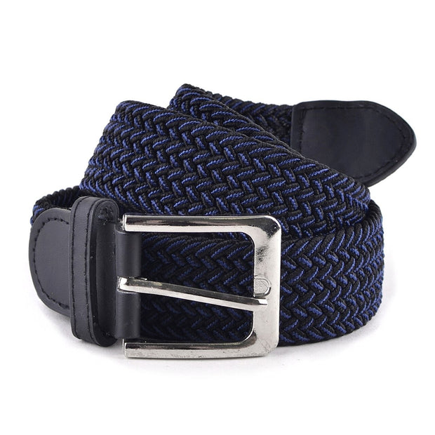 Men's Black & Blue Braided Elastic Belts
