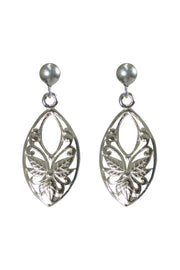 Women's Fashion Jewelry Fine Sterling Sliver Oval Floral Leaf Earrings