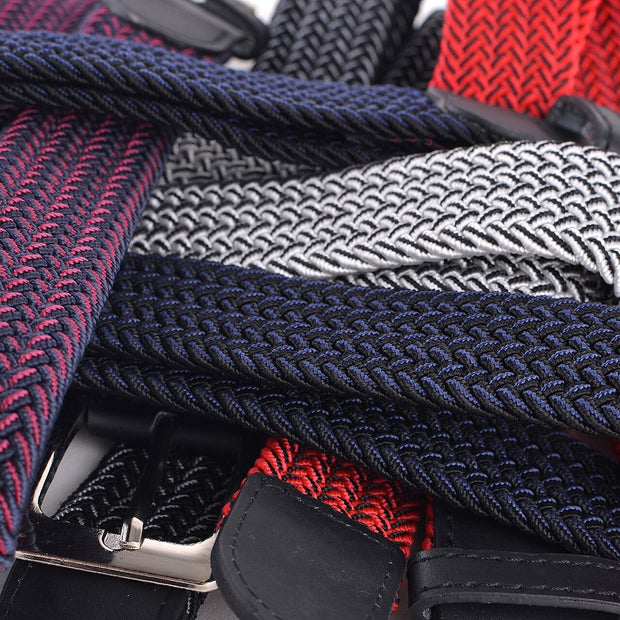 Men's Red & Black Braided Elastic Belts