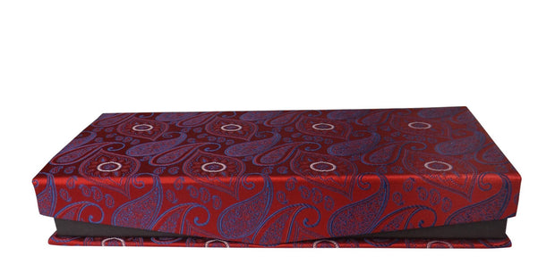 Luxurious Men's Silk Feel Paisley Necktie Cufflink Handkerchief Set