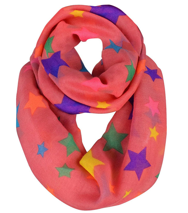 Women's Fashionable Multicolored Star Print Infinity Loop Scarf